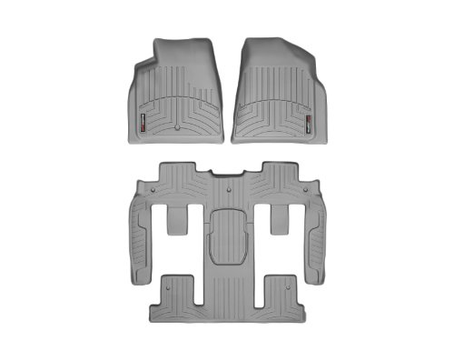 WeatherTech Custom Fit FloorLiner-Buick Enclave-2011-2016-Complete Set (1st, 2nd, & 3rd Row) with 2nd Row Bucket Seating-Grey (Enclave Weathertech compare prices)