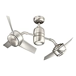 Kichler Lighting 310125NI Yuree 48IN Damp Rated Dual-Headed Ceiling Fan, Brushed Nickel Finish with Silver Blades and Integrated Downlight