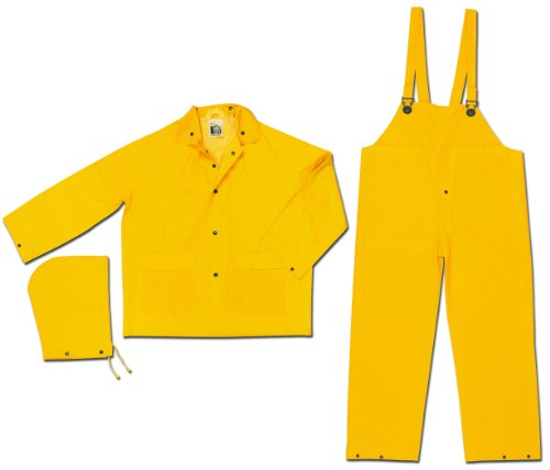 Mcr Safety Fr2003L Classic Pvc/Polyester 3-Piece Flame Resistant Rainsuit With Attached Hood And Bib Pants, Yellow, Large front-108337