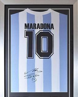 Signed Diego Maradona Argentina Shirt - World Cup Legend - Autographed Soccer Jerseys