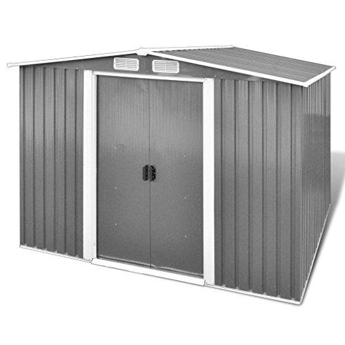 vidaxl gartenhaus aus metall mit spitzdach und fundament. Black Bedroom Furniture Sets. Home Design Ideas