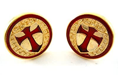 Gold Tone Crusader Knights Templar Red Cross Cufflinks