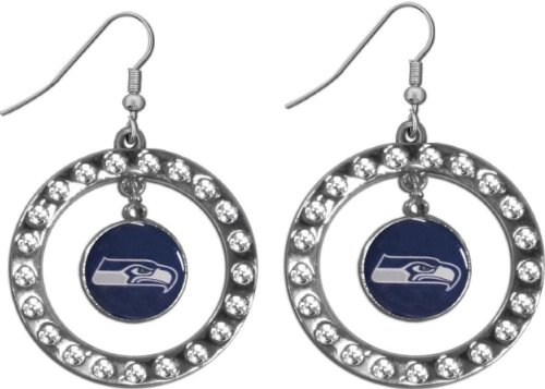 Seattle Seahawks NFL Rhinestone Circle Style Fashion Dangle Earrings at Amazon.com