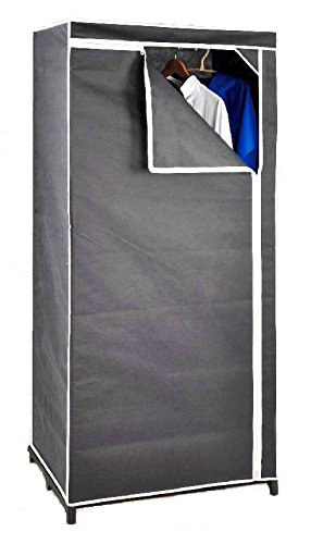 Stoffschrank-160-cm-inkl-Kleiderstange-grau-Kleiderschrank-Faltschrank-Stoffkleiderschrank