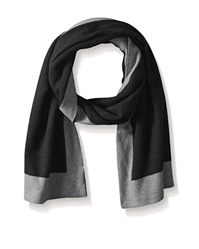 Portolano Men's Double Face Cashmere 2-Tone Scarf, Black/Gray