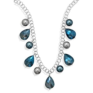 Sterling Silver 16 Inch+2 Inch Glass Pearl and Crystal Silver Tone Fashion Necklace - JewelryWeb