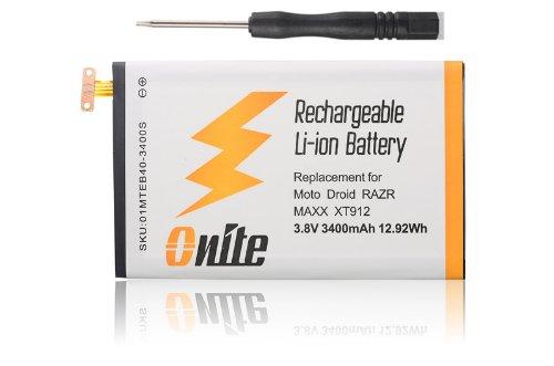 Onite Spare Motorola Droid RAZR MAXX XT910 XT912 Battery 3400mAh, EB40 (Eb40 Battery compare prices)