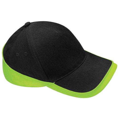 Beechfield Unisex Teamwear Competition Cap Baseball / Headwear (One Size) (Black/Lime Green)