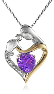 """Sterling Silver and 14k Yellow Gold Heart Mother's Jewel Amethyst and Diamond Accent Pendant Necklace, 18"""""""