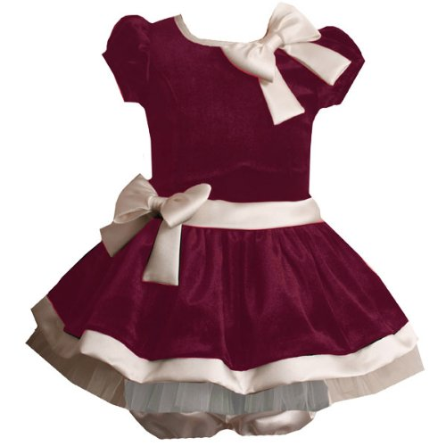 Size-24M BNJ-7117X 2-Piece BURGUNDY-RED IVORY VELVET SATIN DOUBLE BOW Special Occasion Flower Girl Holiday Party Dress,X17117 Bonnie Jean BABY/INFANT
