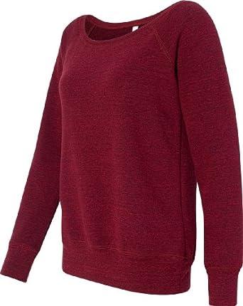 Bella Mia Triblend Sponge Fleece Slouchy Wideneck Sweatshirt 7501 M Red Heather