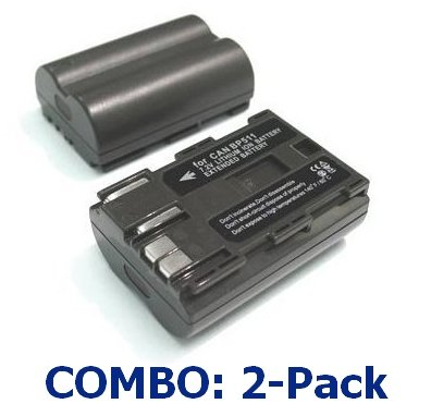 2-Pack (Two) 1800Mah Li-Ion Bp-511 Bp-511A Batteries W/Covers For Canon Eos: D30 10D D60 300D Slr Digital Camera / Camcorder
