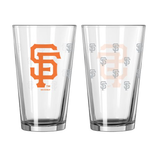 Mlb San Francisco Giants Satin Etch Pint Glass Set (Pack Of 2), 16-Ounce front-496343