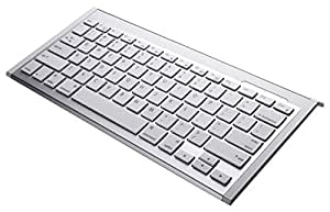 Perixx PERIBOARD-804II, Wireless Bluetooth Keyboard - Silver/White - 299x149x19mm - Compatible with iPhone - iPad - iPad Mini - UK Layout (Big Enter)