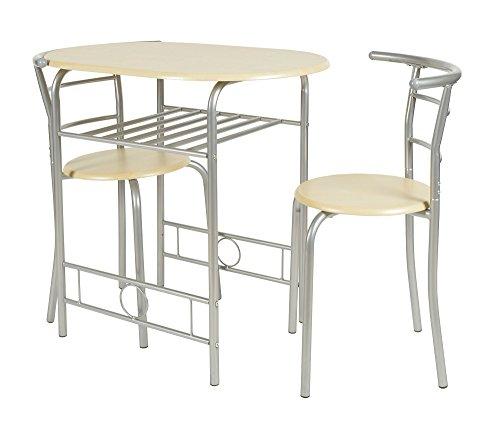 ts-ideen 2820 Set 3 pezzi Tavolo con 2 sgabelli in Alluminio e MDF color Faggio per Cucina o Sala da Pranzo