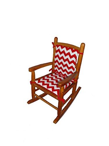 Baby Doll Chevron Junior Rocking Chair Pad, Red - 1