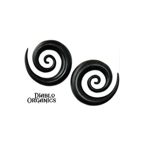 Pair Organic Black Ebony Lily Spiral Hanger Plugs 6 Gauge (4mm)