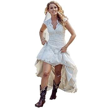 CustomDress Vintage High Low Wedding Dress V-Neck Capped Bridal Gown Plus size