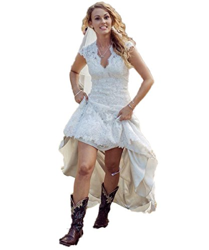 CustomDress Vintage High Low Wedding Dress V-Neck Capped Bridal Gown Plus size (US 6, White)