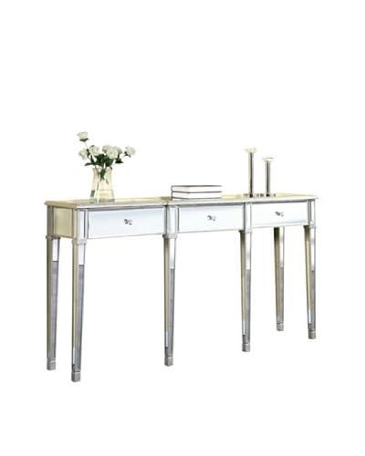 Florentine 3-Drawer Table, Silver Leaf/Clear Mirror