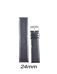 Like 24mm Leather Dotted Parallel Watch Strap (Black)
