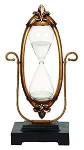 Benzara Polyresin Glass 60 Minutes Hourglass Unique Nautical Decor