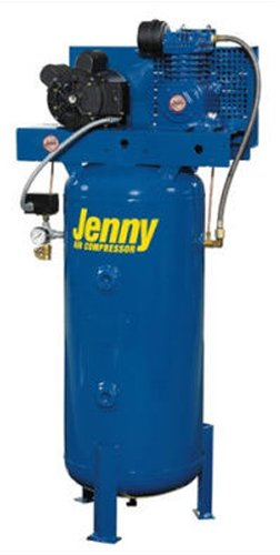 Jenny Compressors K2A-30V-208/3 2-HP 30-Gallon Tank 3 Phase 208-Volt, Vertical Electric Single-Stage Stationary Compressor