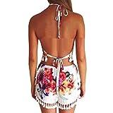 SUNNOW Womens Summer Floral Backless Halter Crop Top + Tassel Shorts 2 Pieces Set