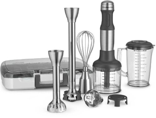 New All Metal Kitchenaid 5-Speed Immersion Hand Blender&Attachments Khb2571Sx front-816292