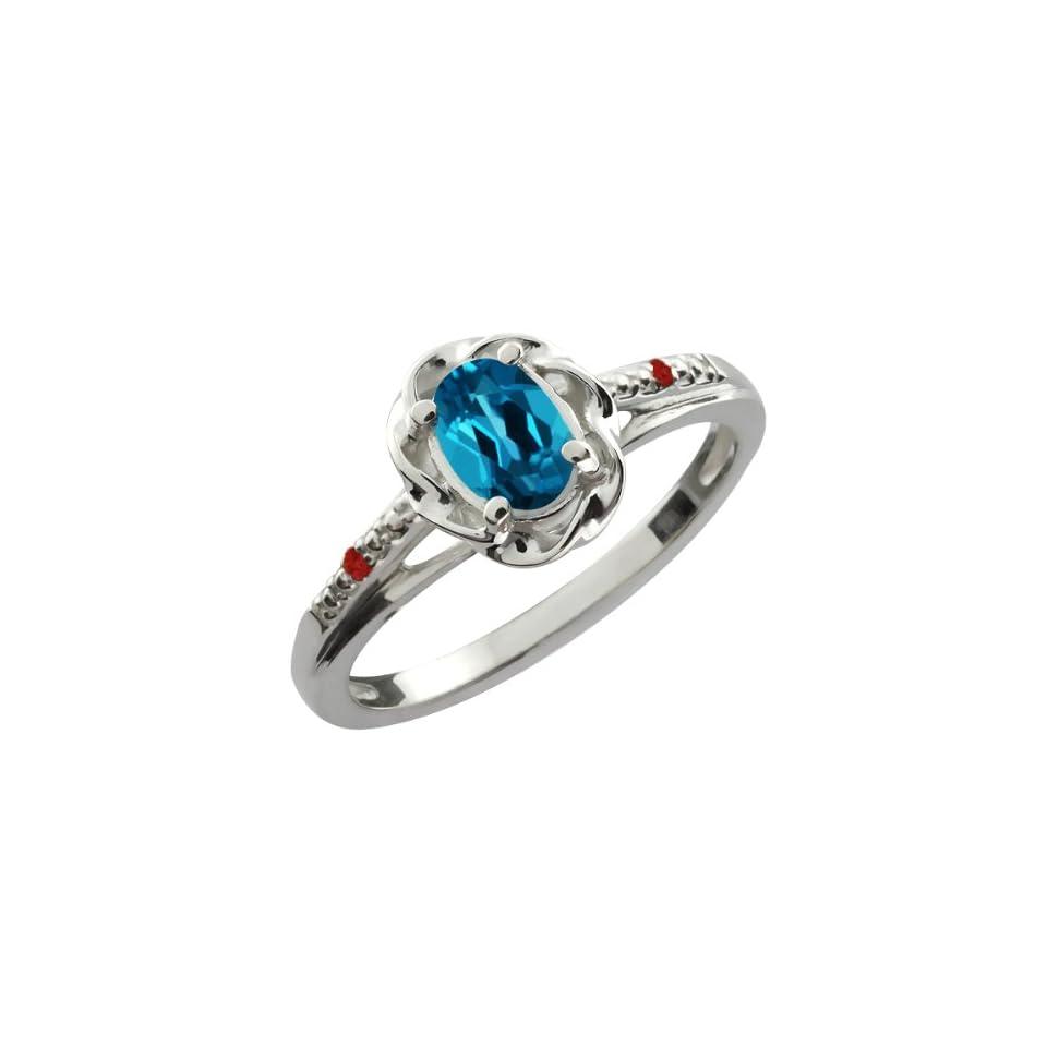 0.57 Ct Oval London Blue Topaz Red Garnet 10K White Gold Ring