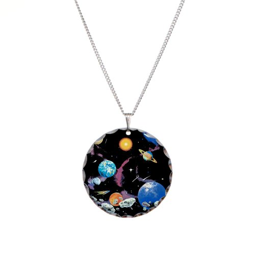 Necklace Circle Charm Solar System And Asteroids