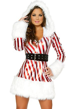 J. Valentine 'Candy Cane Dress' 2 Piece Complete Set Sexy Christmas Costume