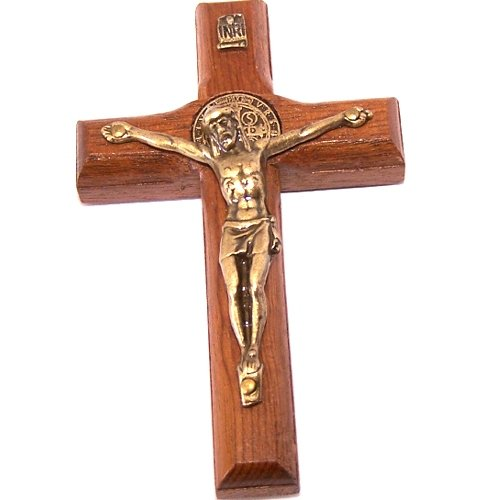 St. Benedict Wooden wall / glass / car / Refrigerator. Solid Bronze Crucifix with stickers - thick (7cm or 2.76