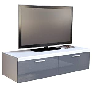 Buying Guide of  TV Stand Unit Atlanta in  matt / Grey High Gloss