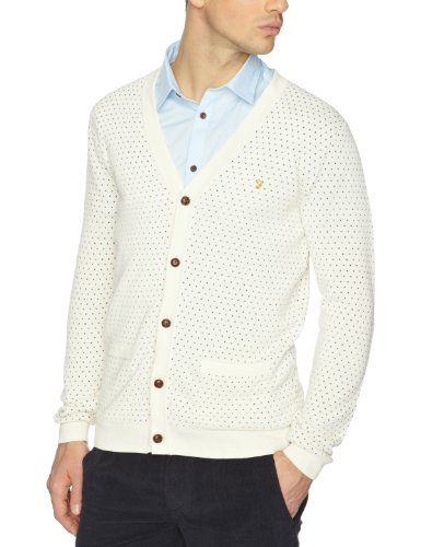 Farah Vintage The Alford Men's Cardigan Ecru Large