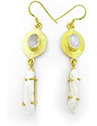 Cheevino Designer Collection White Moonstone, Biwa Gold Plated Earring For Women