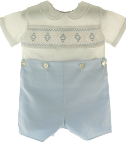 Feltman Brothers Blue White Smocked Bobbie Suit Boys Christening Outfit 18M front-641760