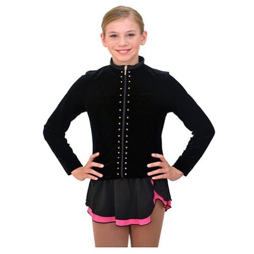 Chole Noel Little Girls 6/8 Black Velvet Crystals Ice Skating Jacket front-12204