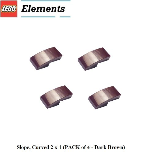 Lego Parts: Slope, Curved 2 x 1 (PACK of 4 - Dark Brown) - 1