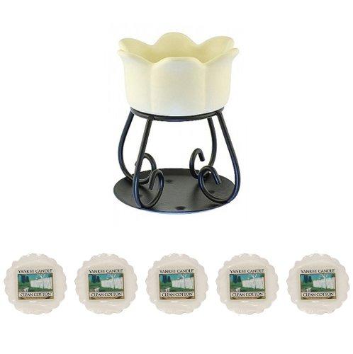 Yankee Candle - 5x Clean Cotton Wax Tarts + Petal Bowl Tart Burner - Cream