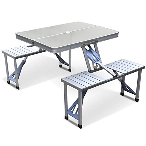 Purchase Yaheetech Aluminum Picnic Time Portable Folding Picnic Table with Seating for 4, Silver