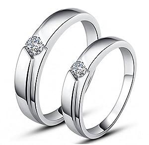 Unendlich U 925 Sterling Silber und Cubic Zirconia für Hochzeits-Band/Jahrestag/Engagement/Versprechen/Paare/Liebhaber Rings -Herren, Ring Größe 63 (20.1) (Enable to Engrave Your Own Words)