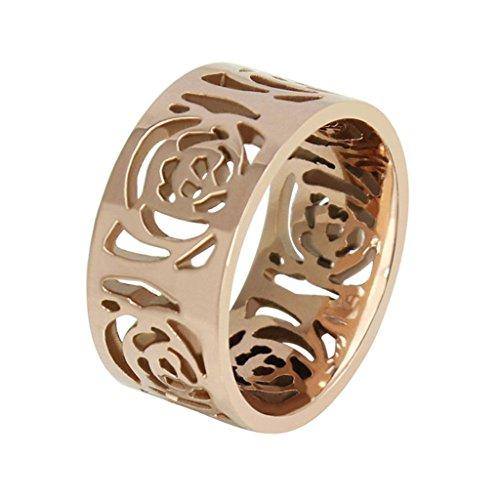 Daesar Anelli Acciaio Inossidabile Rose Oro Cava Fiore Donna Banda Dimensioni:12