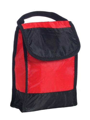 Lunch Cooler Bag with Clear Id Pocket on Back Folds Flat for Storage, Red by BAGS FOR LESSTM - 1