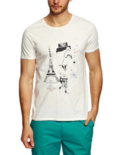 Scotch & Soda French Inspirated Printed Men's T-Shirt Vintage White X-Large