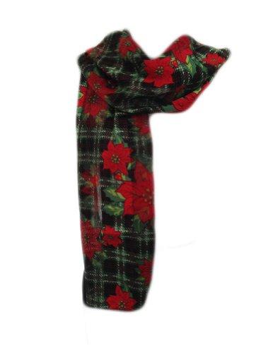 New Company Womens Plaid Christmas Poinsettia Mistletoe Scarf - Green - One Size