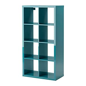 ikea kallax bookcase shelving unit display high gloss turquoise blue shelf. Black Bedroom Furniture Sets. Home Design Ideas