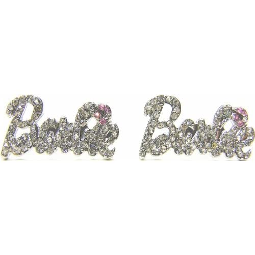 Nicki Minaj Barbie Silver Iced Out Crystal Earrings with Pink Lips