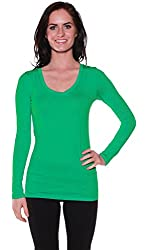 Active Basic Women's Plain Basic Cotton Blend Deep V Neck T Shirt with Long Sleeves