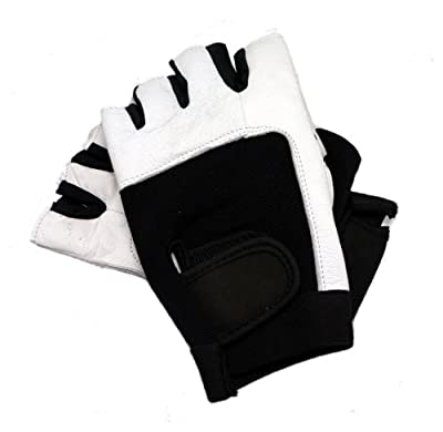 REFLEXT Padded Real Leather Fingerless Training Gloves for Weightlifting / Cycling / Rowing / Gym Black/White by Reflext